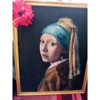 """Картина """"Девушка с жемчужной сережкой"""", 53х43см. хорошая очень копия."""