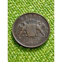 Германия Баден 1 Крейцер 1867 г
