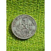 Великобритания, 1 шиллинг 1944 г ( серебро, Шотландский герб )