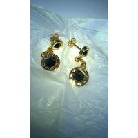 Серьги с черными кристаллами Svarovski Elements, оригинал.