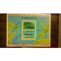 Транспорт, воздушный флот, авиация, самолеты, дирижабли, карты, Доминика, 1978, блок