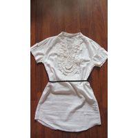 Блузка-рубашка с рюшами 44-46