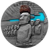 "Камерун 2000 франков 2020г. ""Остров Пасхи: Моаи"". Монета в капсуле; подарочном футляре; сертификат; коробка. СЕРЕБРО 62,20гр.(2 oz)."