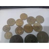 Лот копанины ранних советов 2, 3, 5 копеек и три юбилейки 12 рублей