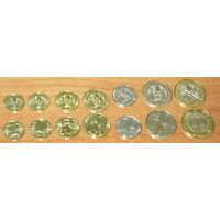 Казахстан 2006-2017 Компл. 7 монет UNC  1,2,5,10,20,5,100 тенге кириллица