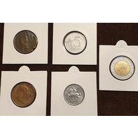 Сборные лот, 5 монет 1884-1993 год.  - ТОРГ по МНОГИМ Лотам !!! -