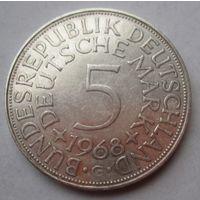 ФРГ. 5 марок 1968 G, Серебро