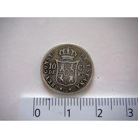ИСПАНСКИЕ ФИЛИППИНЫ 10 сентимос 1885 г. Alfonso XII серебро