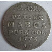 2 гроша 1773 АР  редкий год
