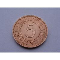 Маврикий.(Британ) 5 центов 1969 год КМ#34