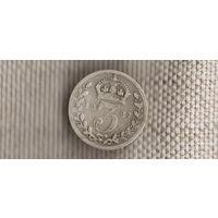 Великобритания 3 пенса 1887/Виктория(Nv)