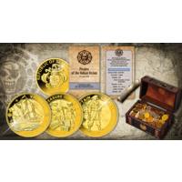 """Барбадос 25 центов 2018г. """"Набор: Пираты Барбадоса"""". Монеты в капсулах, подарочном сундуке; мешочек с монетами; сертификат. Медно-цинковый сплав 3x29,4гр."""