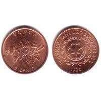 Тонга 2 сенити 1990 ФАО UNC