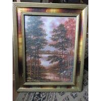 Картина пейзаж. Старая красивая деревянная рама