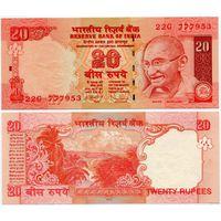 Индия. 20 рупий (образца 2010 года, P96l, буква R, UNC)