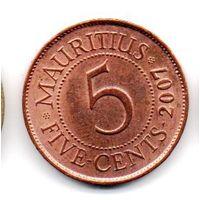 Республика Маврикий 5 ЦЕНТОВ 2007