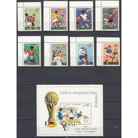 Спорт. Футбол. Конго. 1981. 8 марок и 1 блок (полная серия). Michel N 722-729, бл40 (19,0 е)