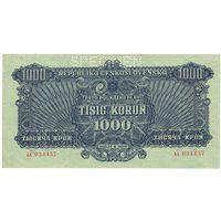 Чехословакия 1000 крон 1944 года. Большой номинал. Состояние aUNC! Нечастая!