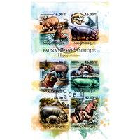 Гиппопотамы на марках Мозамбика