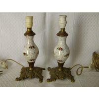 Старенькая и красивейшая пара  настольных ламп . Бронза + керамика. Клеймо.