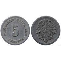YS: Германия, Рейх, 5 пфеннигов 1889F, KM# 3