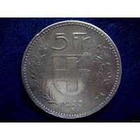 Швейцария. 5 франков 1923 г. Серебро 25.0000 g., 0.9000.