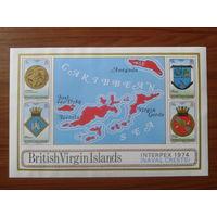 Британские Виргинские о-ва 1974 Фил. выставка, гербы, карта** Блок