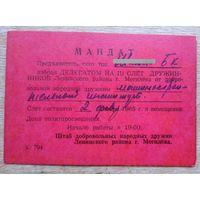 Мандат делегата на слет дружинников. Могилев. 1965 г.