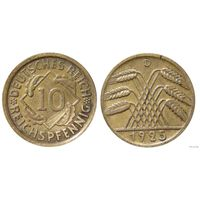 YS: Германия, 10 рейхспфеннигов 1925D, KM# 40 (2)