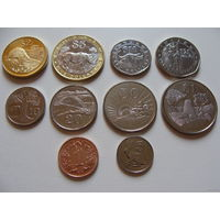 Зимбабве. Полный набор 10 монет 1 цент - 25 долларов 1997 - 2003 год