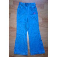 Джинсы светло-голубые тонкие клеш 100% хлопок на резинке на 8 лет рост 128-134 см