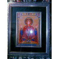 """Икона """"Пресвятая богородица неупиваемая чаша"""", вышивка бисером, икона пресвятой богородицы"""