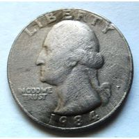 25 центов 1984 Р США