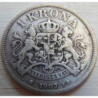 10. Швеция 1 крона 1907 год, серебро