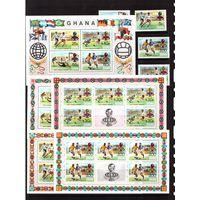 Гана-1974 (Мих.581-584,Бл.58) ** +4 м/л ,надп.,  Спорт, ЧМ-1974 по футболу