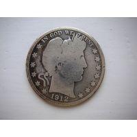 США, 1/2 доллара 1912D Barber Half Dollar