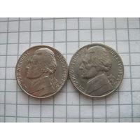 5 центов 1984г. 2 шт. D и P