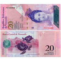 Венесуэла. 20 боливаров (образца 24.05.2007 года, P91b, UNC)