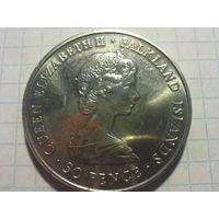 Фолклендские острова 50 пенсов 1980 (огромная красивая шайба !)
