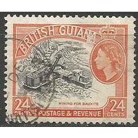 Британская Гвиана. Королева Елизавета II. Добыча бокситов. 1954г. Mi#207.
