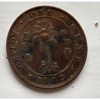 Цейлон 1 цент, 1942 Медь, 4.72 гр 2-13-30