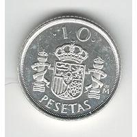 Испания 10 песет 2000 года. Серебро 925 проба. Штемпельный блеск! Состояние UNC! Редкая!