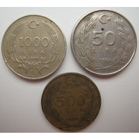 Турция 1000 лир 1990 + 500 лир 1989 + 50 лир 1986 гг. Цена за все (u)
