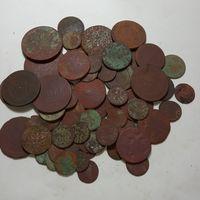 80 монет старой меди с серебром . с рубля