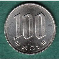 ЯПОНИЯ  100 йен 2019 год