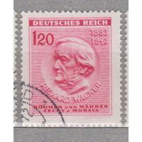 Германия Рейх Богемия и Моравия 130-летие со дня рождения Рихарда Вагнера известные люди 1943  год  лот 6