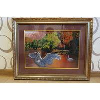 """Вышитая чешским бисером картина """"Лебеди"""". Размер 45.5 см х 57 см."""