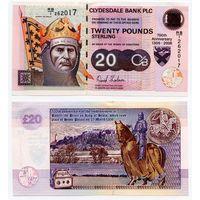 Шотландия (Clydesdale Bank) 20 фунтов 2006 (P-229G, UNC) Памятная, редкая банкнота