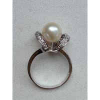 Кольцо, серебро  925, жемчуг, фианиты