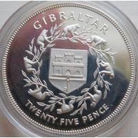 35. Гибралтар 25 пенсов 1977 год, серебро*